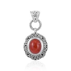 Royal Bali Collection Red Jade (Ovl) Pendant in Sterling Silver 6.125 Ct. Silver wt 5.14 Gms.