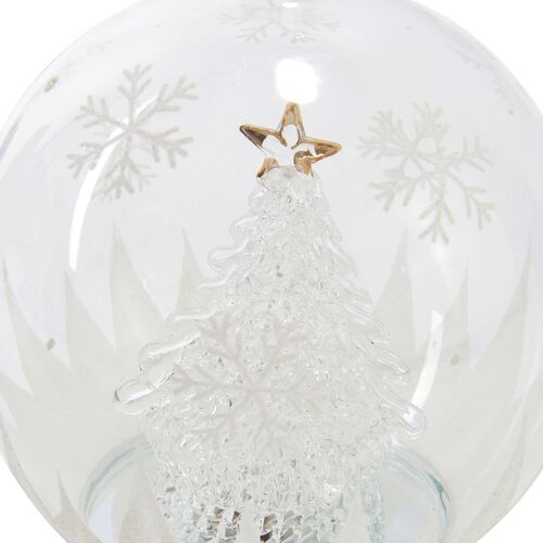 Home Decor - Christmas Tree Theme Glass Ball with Colourful LED Lights Inside