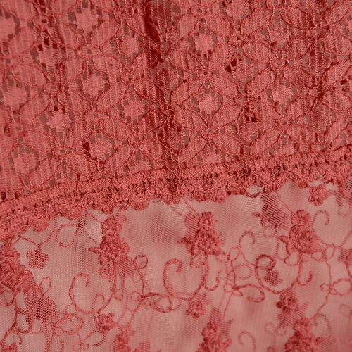 New For Season - 100% Micro - Cotton Slub Lace Trim Hot Pink Colour Scarf (Size 200x40 Cm)
