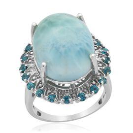 Larimar (Ovl 15.00 Ct) Malgache Neon Apatite and Diamond Ring in Platinum Overlay Sterling Silver  16.010 Ct.
