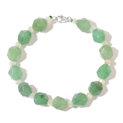 Green Aventurine Bracelet (Size 7.5) in Rhodium Plated Sterling Silver 73.500 Ct.