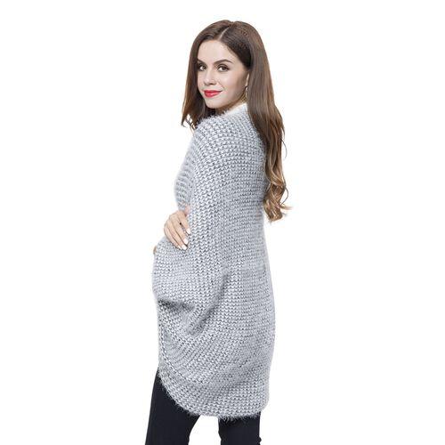 Designer Inspired Grey and White Colour Winter Boho Chic Sleeve Kimono (Size 108x48 Cm)
