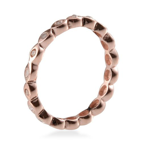 Diamond (Rnd) Full Eternity Ring in Rose Gold Overlay Sterling Silver 0.250 Ct.