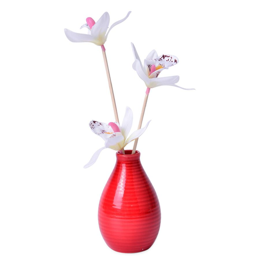 Aroma reed diffuser pink colour vase and white flower with rose aroma reed diffuser pink colour vase and white flower with rose essential oil 110 ml mightylinksfo