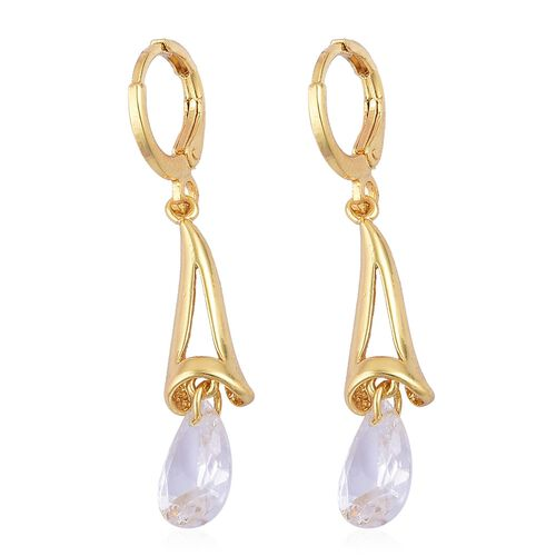 AAA Simulated White Diamond Drop Earring and Stud Earrings (with Push Back) in Yellow Gold Tone
