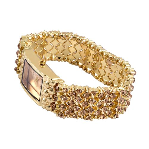 STRADA AAA White Austrian Crystal Stretch Bracelet Watch - Yellow Gold Tone