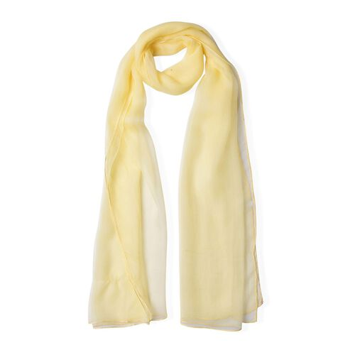 100% Mulberry Silk Light Yellow Colour Scarf (Size 170X70 Cm)