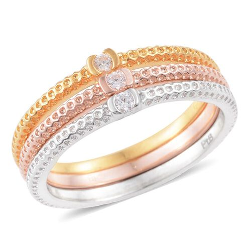 Set of 3 Designer Inspired J Francis - ION Plated Platinum, 18K Yellow and Rose Gold Bond (Rnd) Ring Made with SWAROVSKI ZIRCONIA