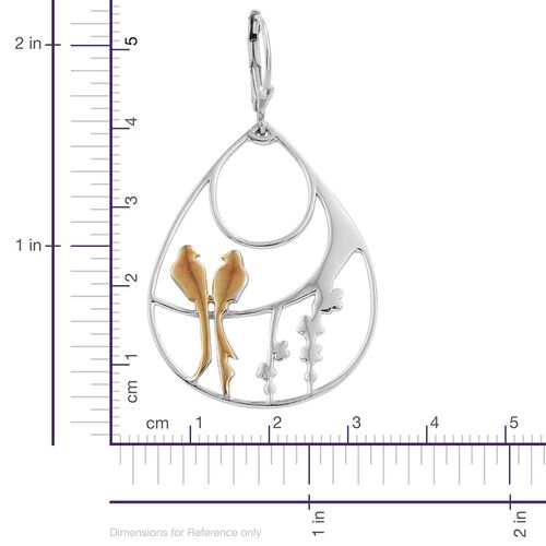 Yellow Gold and Platinum Overlay Sterling Silver Birds Lever Back Earrings, Silver wt 7.93 Gms.