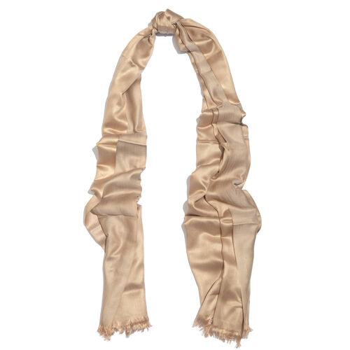Champagne Beige Colour Reversible Scarf with Fringes (Size 200x70 Cm)