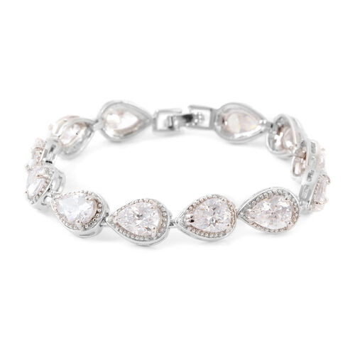JCK Vegas Collection AAA Simulated Diamond (Pear) Bracelet (Size 7) in Silver Bond