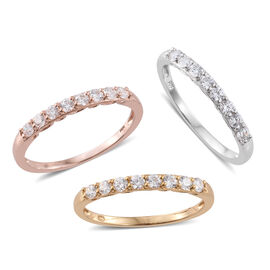 Set of 3 J Francis - Platinum, 14K Gold and Rose Gold Overlay Sterling Silver (Rnd) Half Eternity Ring Made with SWAROVSKI ZIRCONIA, Silver wt 4.50 Gms.
