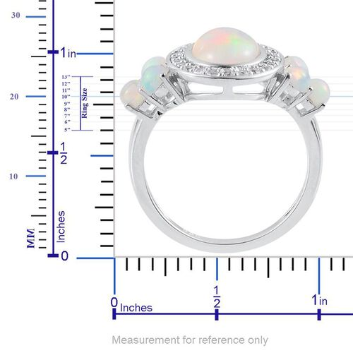 Ethiopian Welo Opal (Ovl 1.25 Ct), White Topaz Ring in Platinum Overlay Sterling Silver 2.000 Ct.