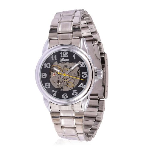 GENOA Automatic Skeleton Black Dial Water Resistant Watch in Silver Tone With Stainless Steel Back and Chain Strap