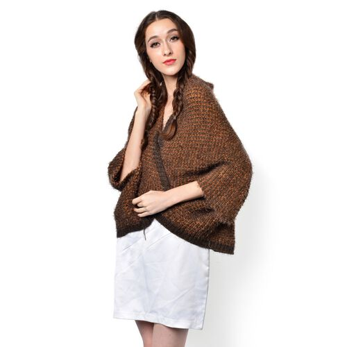 Chocolate and Orange Colour Knitted Kimono (Free Size)