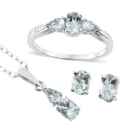 Super Saver Deal- Set of 4 Espirito Santo Aquamarine (Ovl) Ring, Pendant with Chain and Stud Earrings (with Push Back) in Platinum Overlay Sterling Silver 2.000 Ct.