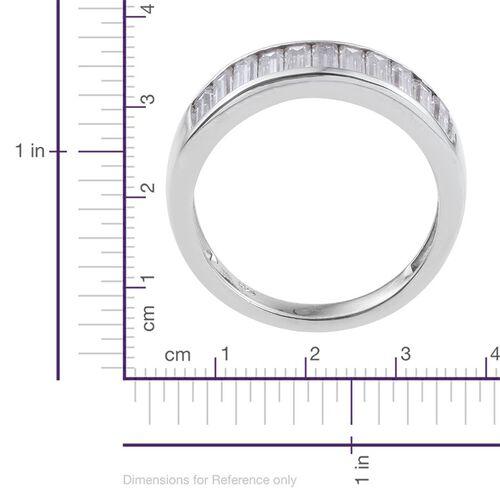 J Francis - Platinum Overlay Sterling Silver (Bgt) Half Eternity Band Ring Made with SWAROVSKI ZIRCONIA. Silver wt. 3.66 Gms.