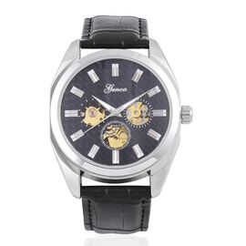 GENOA Automatic Skeleton Black Dial Water Resistant Watch in Silver Tone with Glass Back and Black Colour Leather Strap