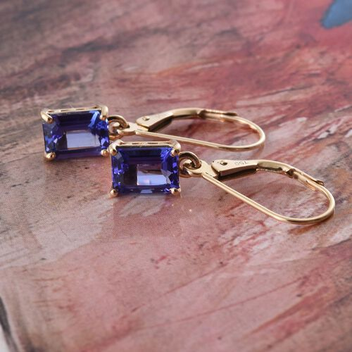 ILIANA 18K Yellow Gold AAA Tanzanite (Oct) Lever Back Earrings 2.000 Ct.