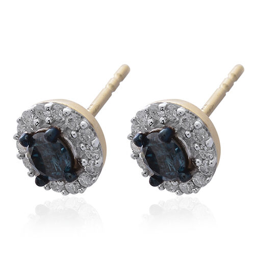 9K Yellow Gold SGL Certified Blue Diamond (Rnd), White Diamond (I3/G-H) Stud Earrings (with Push Back) 0.750 Ct.
