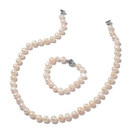 Fresh Water White Pearl Necklace (Size 20) and Bracelet (Size 7) with Magnetic Clasp in Silver Plated