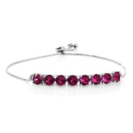J Francis Crystal from Swarovski - Fuchsia Colour Crystal (Rnd) Adjustable Bracelet (Size 6.5 to 9) in Platinum Overlay Sterling Silver