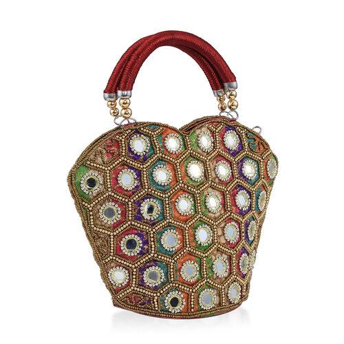 Super Auction - Limited Edition, Hand Made, Hand Set - Golden Colour Beads Embellished Rainbow Handbag (Size 22X18X7 Cm)