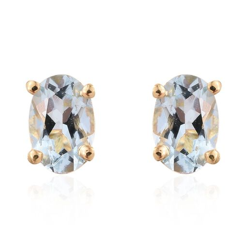 Espirito Santo Aquamarine 0.90 ct. Silver Stud Earrings with Push Back in Gold Overlay