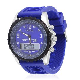 STRADA Analog - Digital Watch in Silver Tone with Blue Colour Silicone Strap