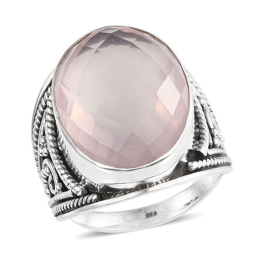 Checkerboard Cut Rose Quartz (Ovl) Ring in Sterling Silver 18.120 Ct.