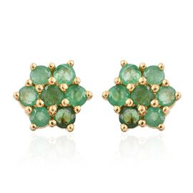 AAA Brazilian Emerald (Rnd) Flower Stud Earrings (with Push Back) in 14K Gold Overlay Sterling Silver 1.250 Ct.