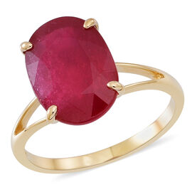 9K Y Gold AAA African Ruby (Ovl) Solitaire Ring 10.000 Ct.