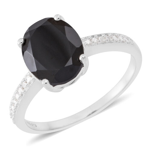 Boi Ploi Black Spinel (Ovl) Solitaire Ring in Sterling Silver 4.250 Ct.