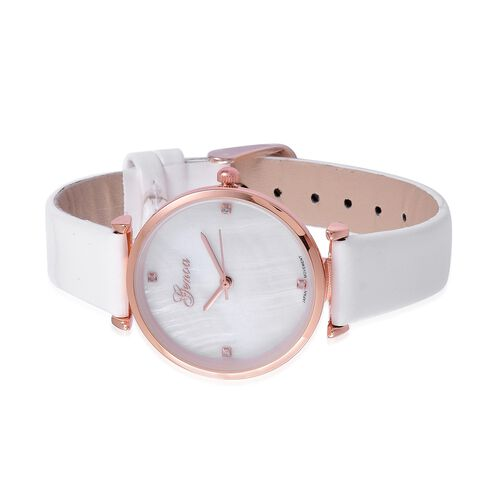 GENOA Diamond Studded MOP Dial Watch with White Colour Strap