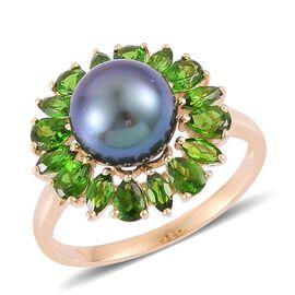 9K Y Gold Tahitian Pearl (Rnd 7.50 Ct), Russian Diopside Ring 10.000 Ct.