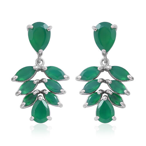 Verde Onyx (Pear) Earrings (with Push Back) in Rhodium Plated Sterling Silver 9.600 Ct.