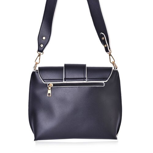 Black Colour Crossbody Bag with Removable Shoulder Strap (Size 24.5X21X8 Cm)