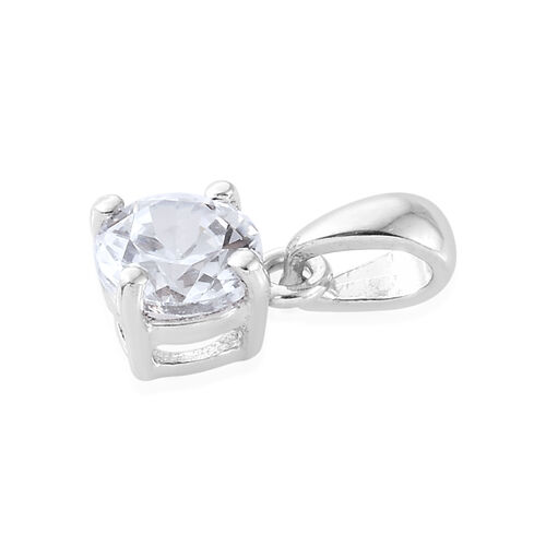 ELANZA AAA Simulated Diamond (Rnd) Solitaire Pendant and Stud Earrings (with Push Back) in Platinum Overlay Sterling Silver