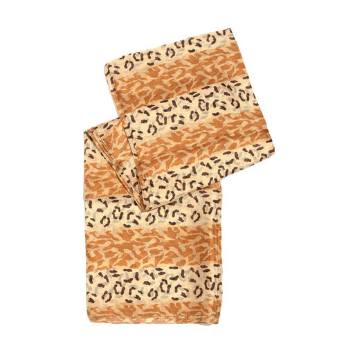 100% Mulberry Silk Chocolate and Cream Colour Leopard Hand Screen Printed Scarf (Size 180X100 Cm)