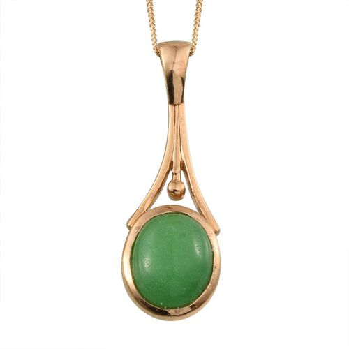 Green Jade (Ovl) Solitaire Pendant With Chain (Size 18) in 14K Gold Overlay Sterling Silver 6.750 Ct.