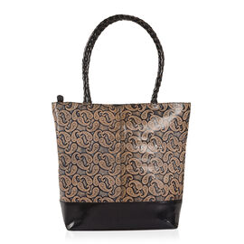 100% Genuine Leather Beige and Black Colour Hand Painted Paisley Pattern RFID Shoulder Bag (Size 35X30X10 Cm)