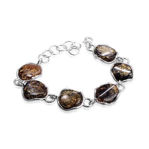 Close Out Deal Mayan Green Amber Bracelet in Sterling Silver (Size 7) 100.000 Ct.