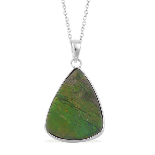 (Option 2) Canadian Ammolite Pendant With Chain in Rhodium Plated Sterling Silver 13.260 Ct.