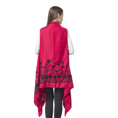 Designer Inspired - Red and Black Colour Floral Embroidered Kimono (Size 180X90 Cm)