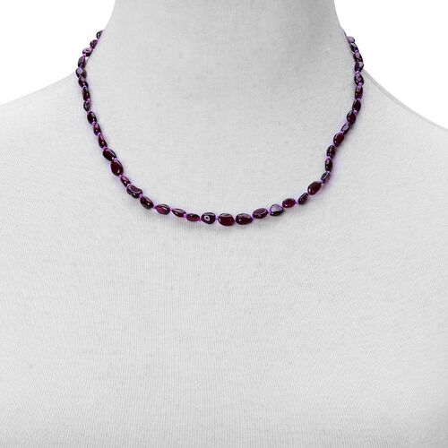 Indian Garnet Necklace (Size 18 with 2 inch Extender) in Rhodium Plated Sterling Silver 60.000 Ct.
