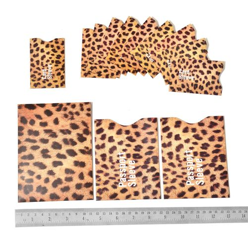 Set of 13 - Chocolate and Yellow Colour Leopard Pattern RFID Blocker Sleeves (Ten for Credit Card, Two for Passport and One for Document)