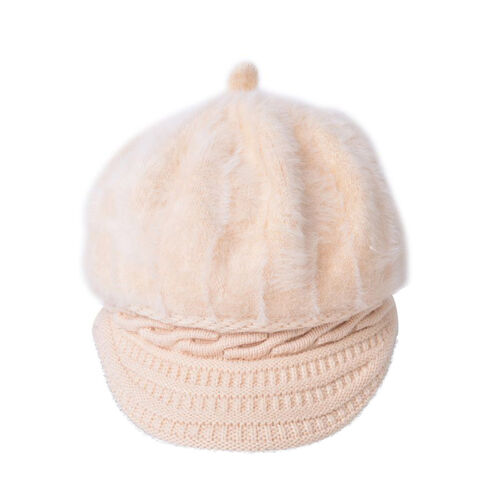 Cream Colour Knitted Newsboy Hat (Size 23X16 Cm)