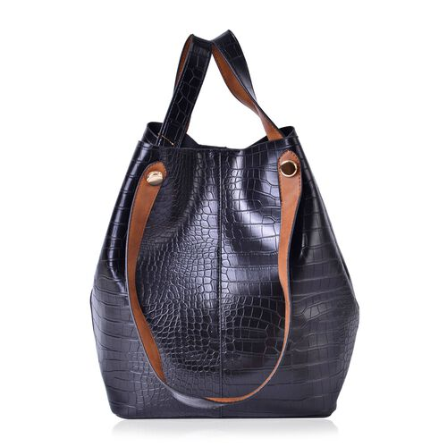 Set of 2 - Black and Brown Colour Croc Embossed Large Handbag (Size 40x31x25x20) and Small Handbag (Size 21x19x10 Cm)