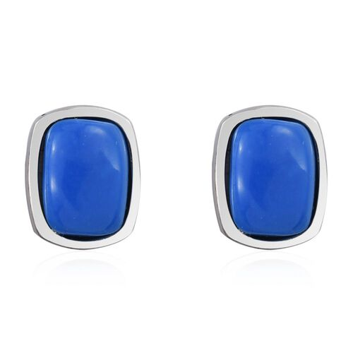 Ceruleite (Cush) Stud Earrings (with Push Back) in Platinum Overlay Sterling Silver 2.250 Ct.