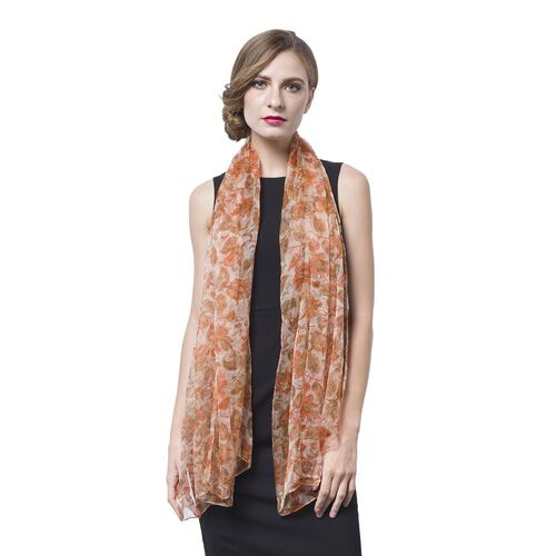 40% Mulberry Silk Orange, Chocolate and Beige Colour Flowers and Leaves Pattern Scarf (Size 170X105 Cm)
